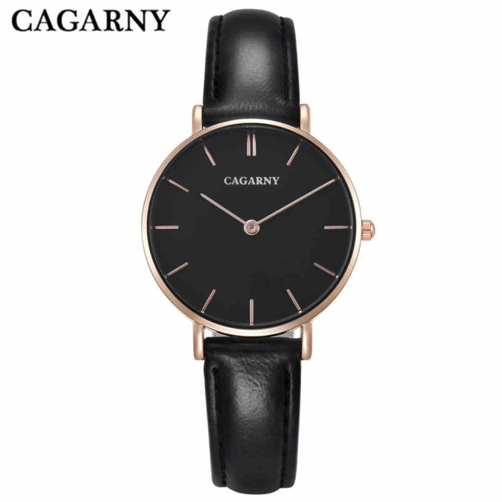 CAGARNY Women Quartz Watches Designer Rose Gold Ultra thin Case Casual Ladies Wristwatches Leather Bracelet Watch Women DW 0797 все цены