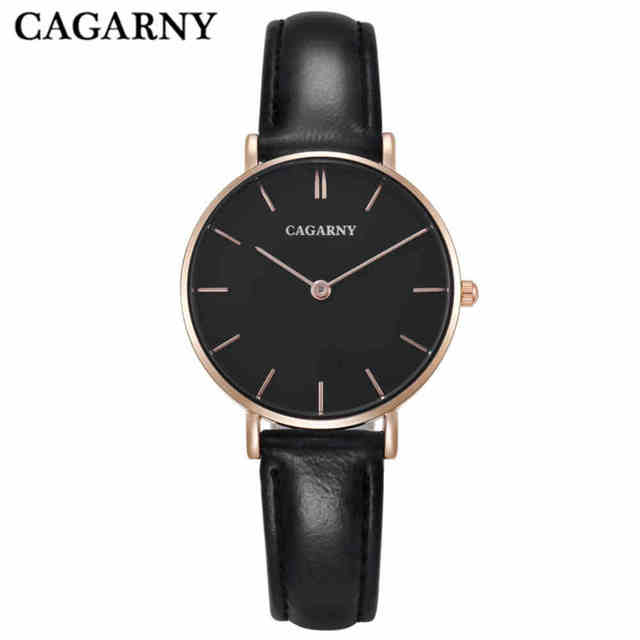 CAGARNY Women Quartz Watches Designer Rose Gold Ultra thin Case Casual Ladies Wr
