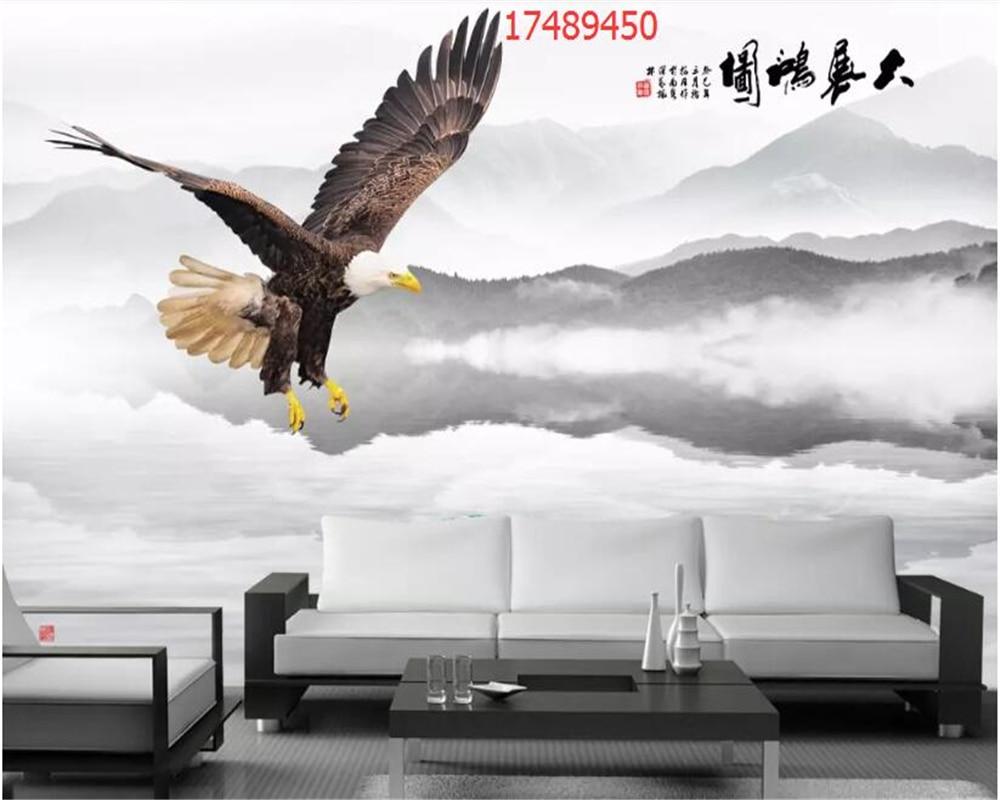 Купить с кэшбэком beibehang Custom size new Chinese style exhibition Hongtu eagle spread wings landscape marble wallpaper decoration painting w