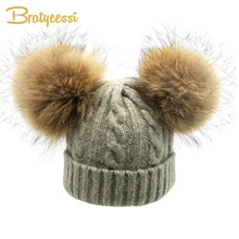 Winter Children Hat for Girls Wool Real Fur Ball Pompom Kids Hat for Boys Knit Warm Double Pom pom Child Cap Kids Beanie цены