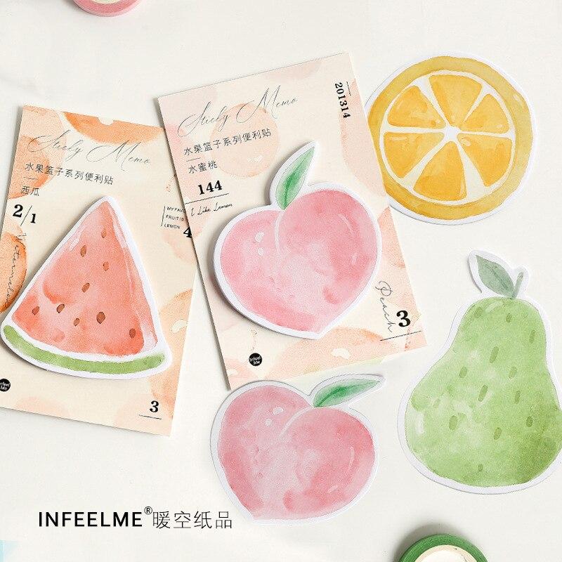 1 sets/1 lot Creative Fruit basket Memo Pad Sticky Notes Escolar Papelaria School Supply Bookmark notepad Label