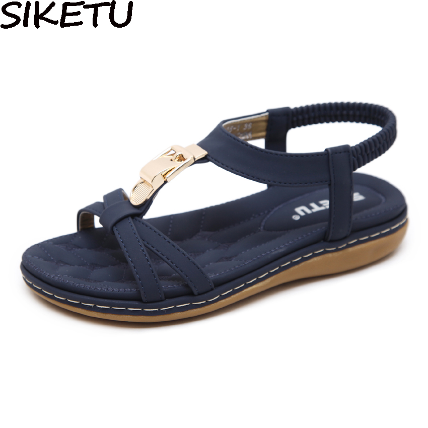 Siketu Zomer Comfort Casual Flats Open Teen Schoenen Vrouwen Boho Bohemian Sandalen Metalen Decoratie Elastische Band Gladiator Sandalen