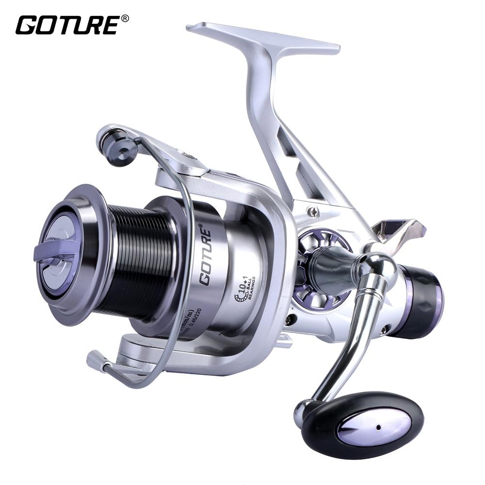 Goture longue coulée filature pêche bobine métal bobine Double frein carpe pêche roue chargeur bobine 5.2: 1 11BB 5000/6000 série