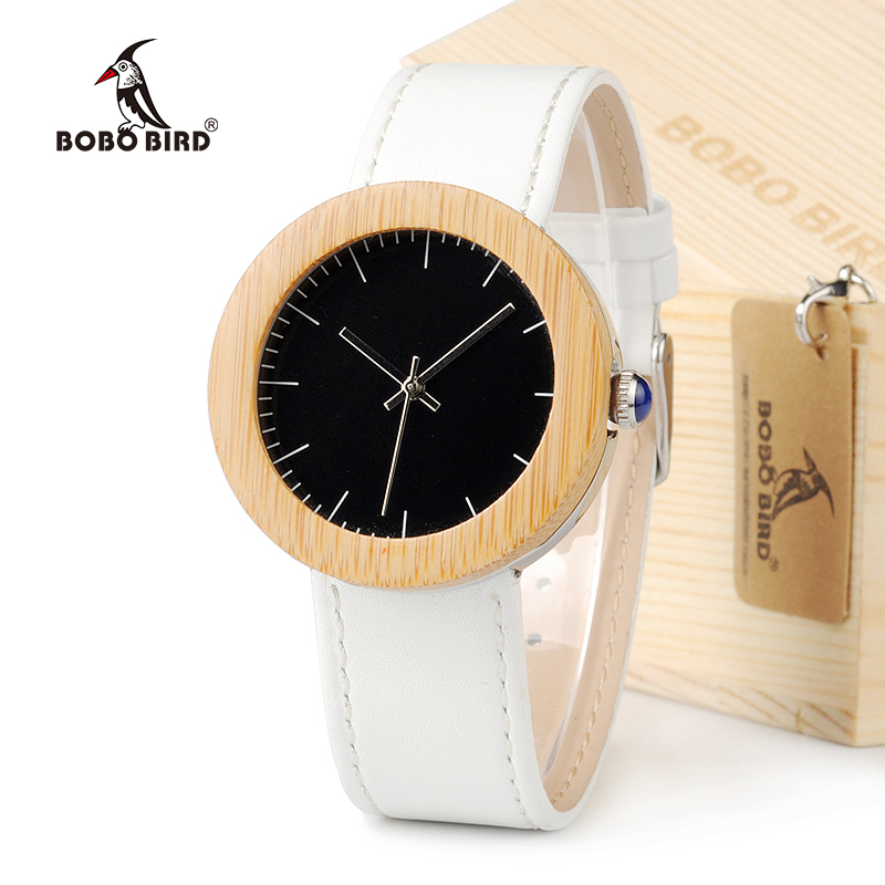 BOBO BIRD J01 Classic Women's Bamboo Wood Watch Black Dial Analog Display Wrist Watch with White Leather Band With Gift Box все цены