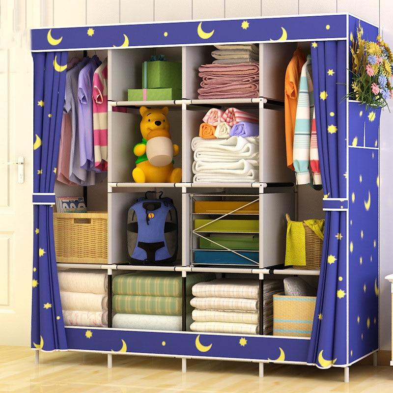 DIY Reinforcement Large Wardrobe Multi-function Cloth Wardrobe Fabric Closet Folding Clothing Storage Cabinet Dustproof Wardrobe