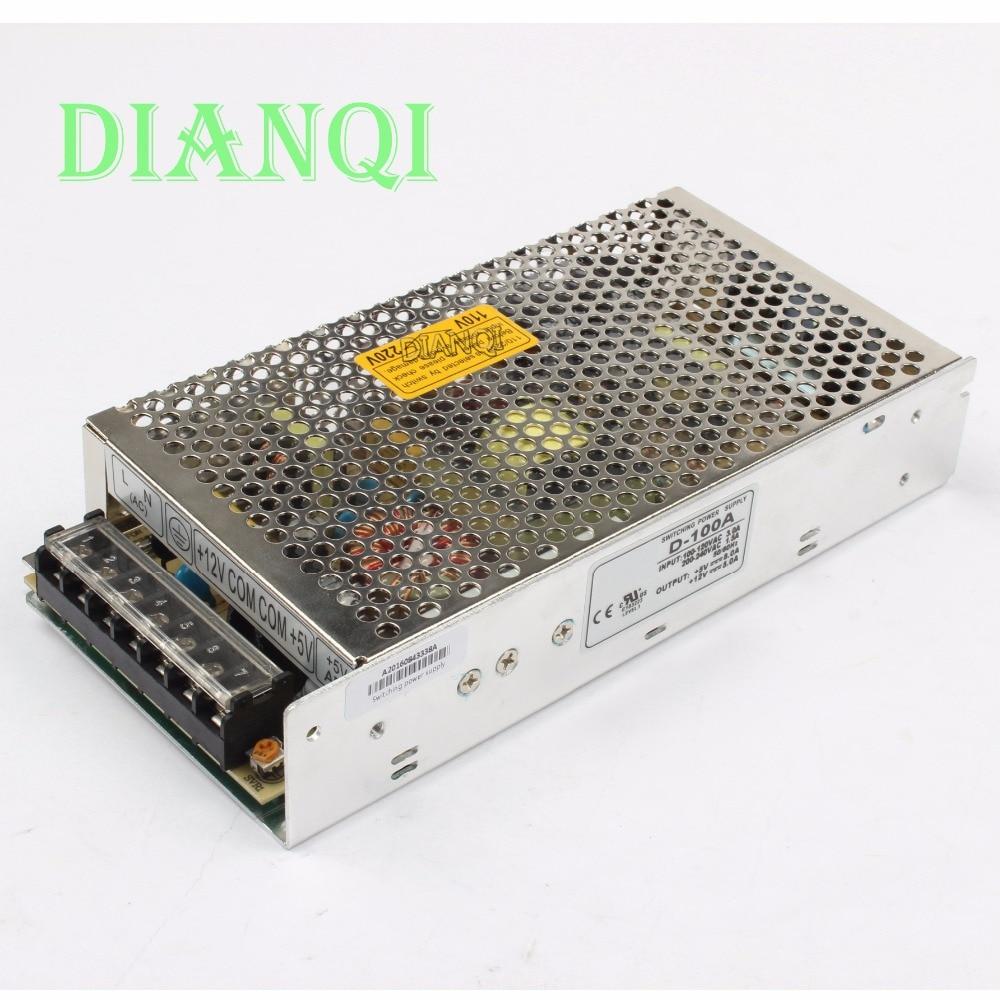DIANQI dual output power supply 100w 5V 10A, 12V 4A power suply D-100A ac dc converter good quality dianqi dual output switching power supply 30w 5v 12v 24v power suply d 30a ac dc converter d 30b d 30c