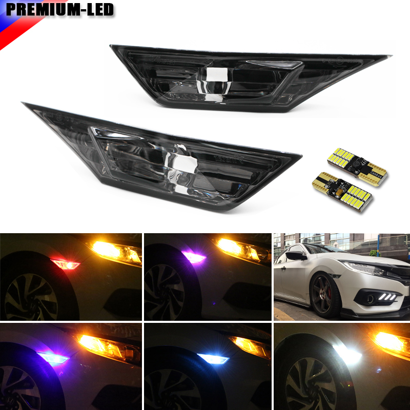 (2) JDM Smoked Lens Side Marker Lamp Lens For 2016-up 10th Gen Honda Civic Sedan/Coupe/Hatchback(white/Amber/Blue/Red/Green) 4pcs 2 red 2 amber hd led fender bed side marker lights smoked lens for dodge ram