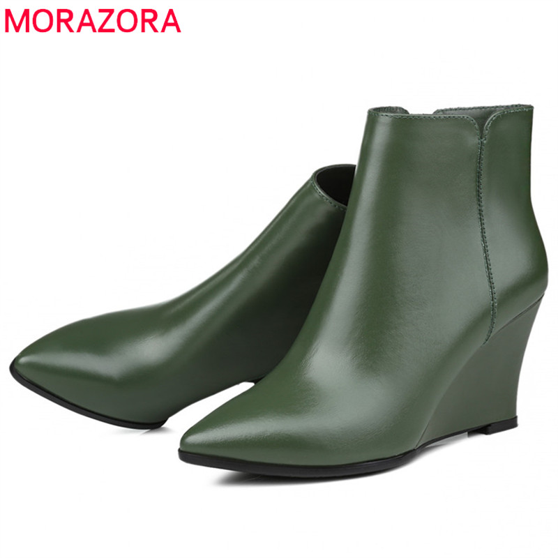 MORAZORA 2019 top quality genuine leather boots women pointed toe autumn winter boots fashion wedges shoes