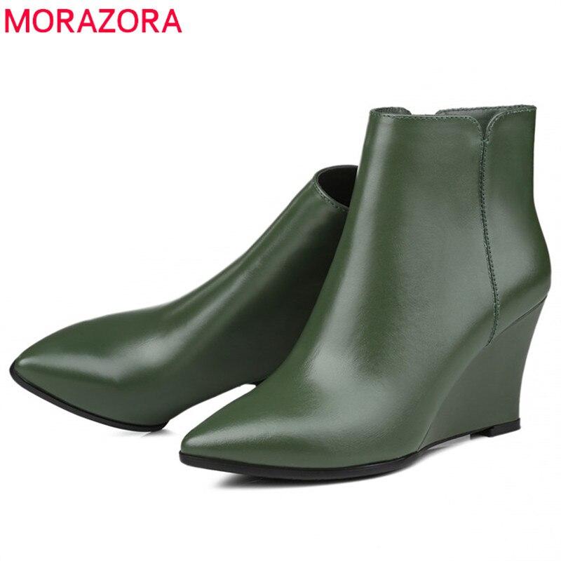 MORAZORA 2019 أعلى جودة بوط من الجلد الطبيعي المرأة وأشار اصبع القدم الخريف الشتاء الأحذية أزياء أسافين أحذية السيدات حذاء من الجلد-في أحذية الكاحل من أحذية على  مجموعة 1