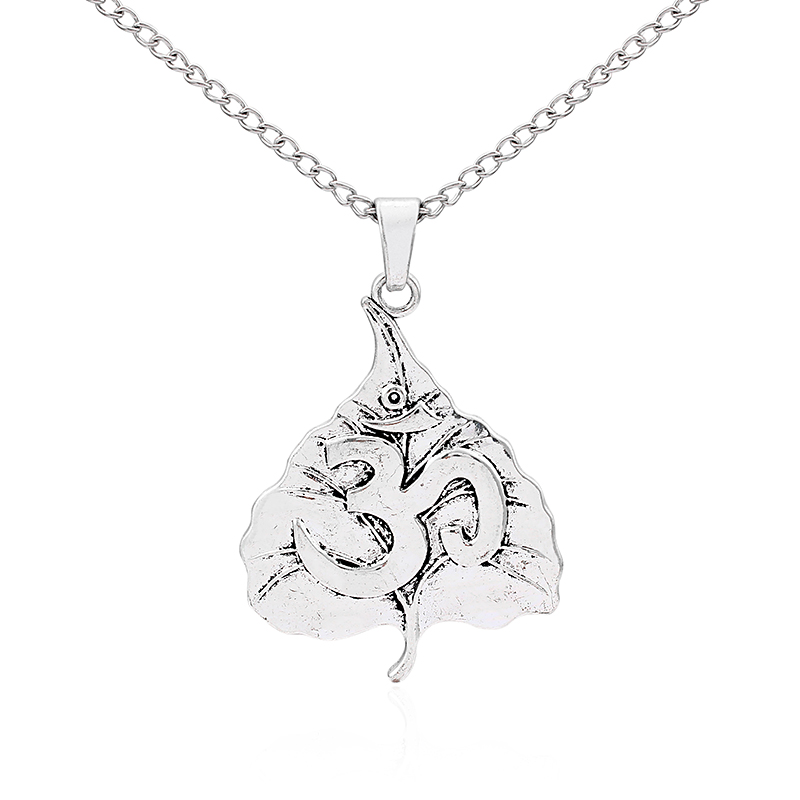 1pcs Antique Silver Large Lagelook Leaf Carved OM OHM YOGA Symbol Pendant Long Chain Sweater Necklace Colar Collier Jewelry