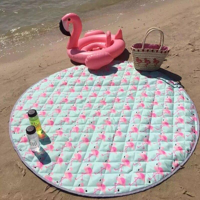 Mignon animaux renard ballon licorne imperméable à l'eau tapis de jeu bébé ramper couverture pique-nique tapis jouets sac de rangement nordique enfants chambre décor - 3