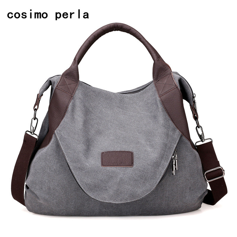 Large Pocket Shopper Handbags Big Canvas Shoulder Crossbody Bags for Women  2019 Fashion Designer bolsos Casual 48c6e55437239