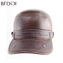 BFDADI Winter mens faux leather cap warm hat baseball cap with ear flaps russia flat top caps for men Big Size 61cm Brown(China)