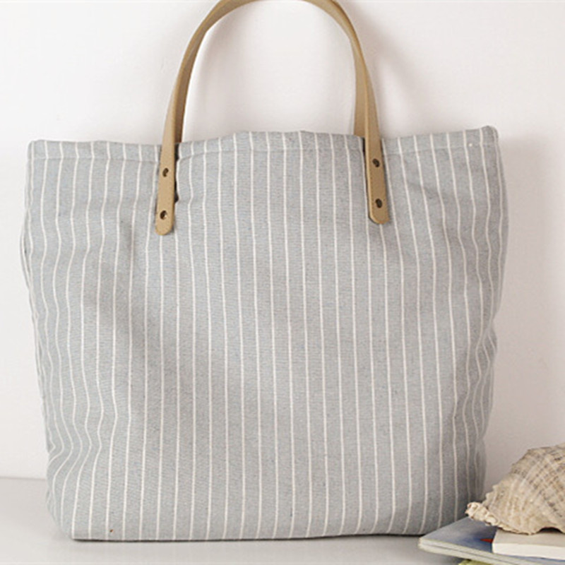 Fashion Women Canvas Handbag Classic Striped Shoulder Female Large Capacity Ladies Beach Bag Tote