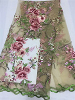 Good Quality Sequin Lace Fabric New Lilac African Lace Fabric Embroidery Flowers Pattern Wedding Dress Lace