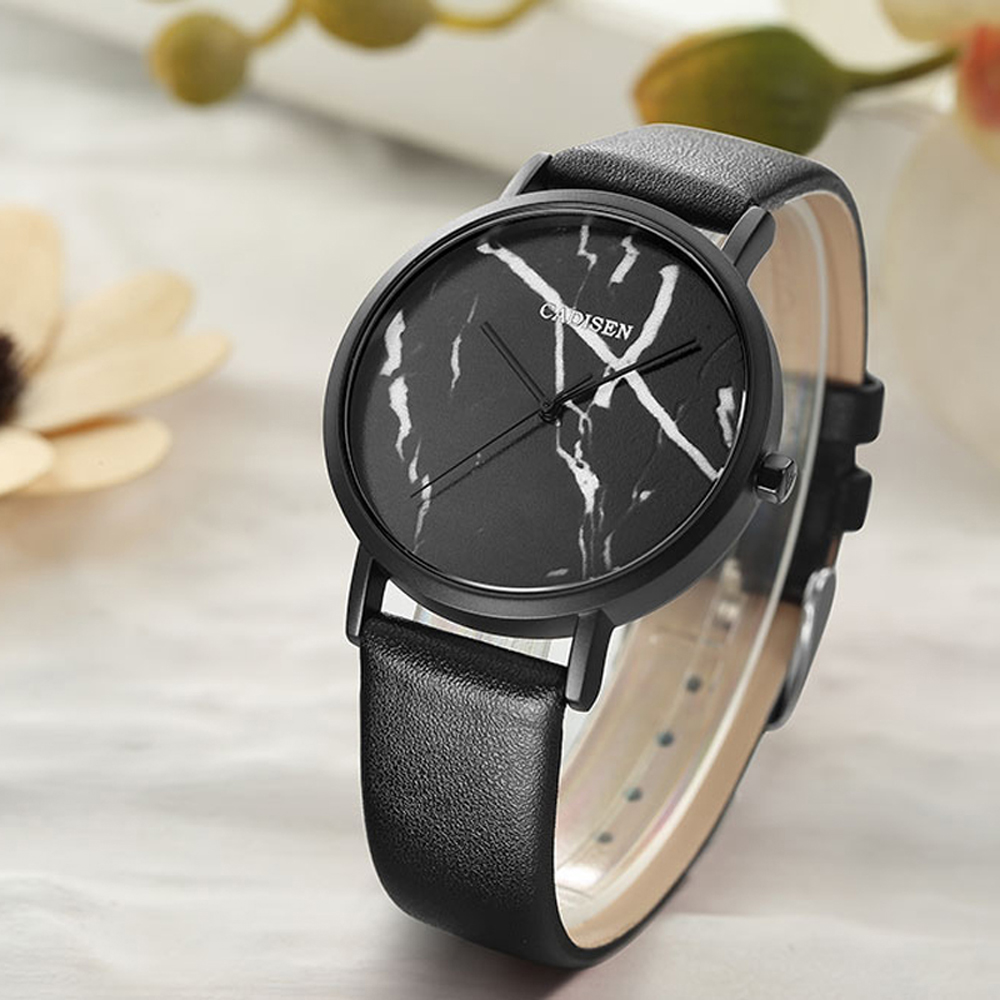 2018 CADISEN NEW Brand Fashion Ladies Watches Leather Female Quartz Watch Casual Women Marble Dial Watch Reloj Mujer fashion quartz wrist watches casual women s watch design yoga dial leather band buckle clock female simple hour reloj mujer