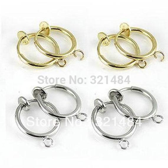 Посеребренные и позолоченные 13 мм 100 шт = 50 пар пружинное кольцо Круглый обруч зажим для серьги, приклад серьги с крючком
