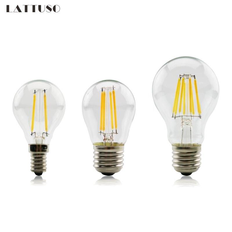 E27 Lamp A60 LED Filament 2W 4W 6W 8W G45 Retro Glass Edison 220V Bulb Replace Incandescent Light Chandeliers 5pcs e27 led bulb 2w 4w 6w vintage cold white warm white edison lamp g45 led filament decorative bulb ac 220v 240v