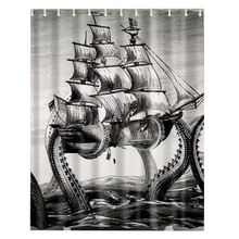 Waterproof Fabric Bathroom Shower Curtain Sheer Panel Decor 12 Hooks Octopus sailboat(China)