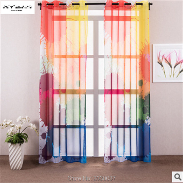XYZLS Modern Colorful Curtains for Window Home Living Room Tulle Curtain/Shade Punching Translucidus Window Bedroom Curtains 1pc