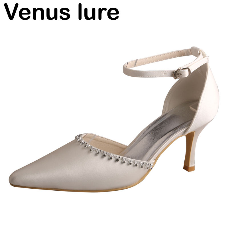 Satin Ivory Ladies Fancy Evening Shoes Ankle Straps Formal Dress Shoes Pointed Toe