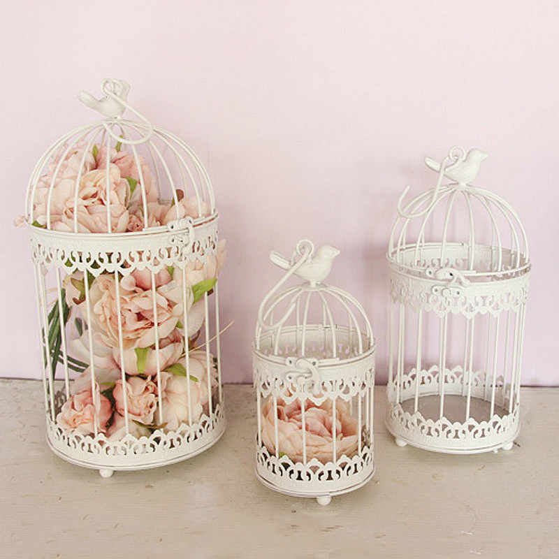 Modern iron wrought metal birdcage white small middle Sets large bird cage decoration hanging flowerpot succulent plants