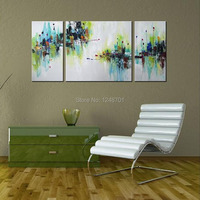 Hand Painted 3 Pieces Abstract Art Mixed Grey Color Art Canvas Oil Painting Wall Art Decor