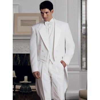 New Arrival Classic White Men Tailcoat Notched Lapel Wedding Suits For Men Men Suits Trim Fit 3 Pieces Formal Groomsmen Suits