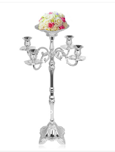 H83cm 5arm Silver Candlestick Holders Wedding Candelabra Tall Candle For Centerpieces With Flower Vase