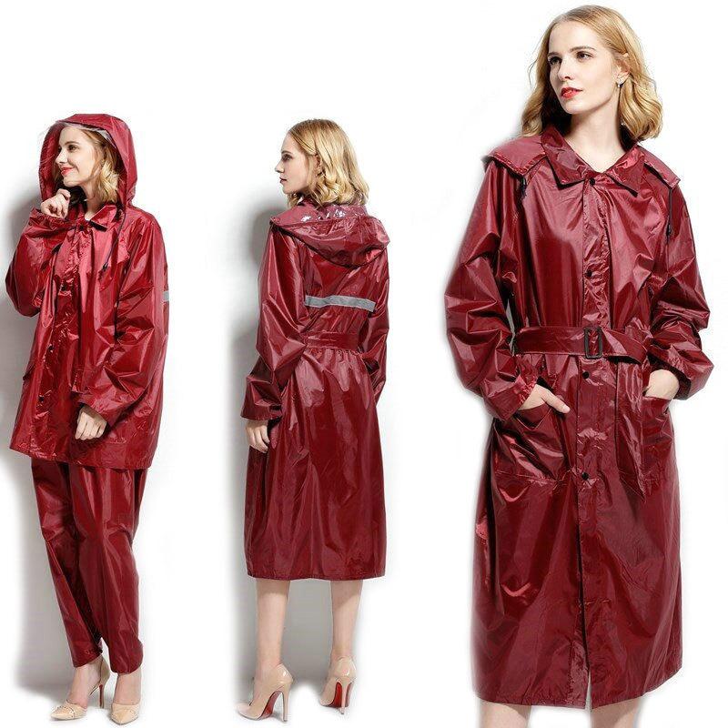 Red Long Coat Women Raincoat with Pants Motorcycle Hood Windbreaker Rain Poncho Jacket Impremiable Women Rainwear Suit 6R216