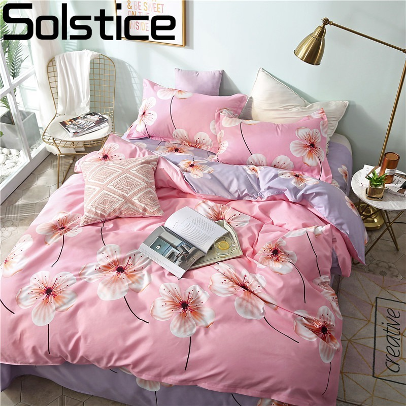 Solstice Home Textile 3-4Pcs Duvet Cover Pillowcase Flat Bed Sheets Girl Kid Teen Adult Pink Flower Bedding Linen Set Bedclothes