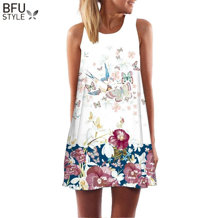 Cow Letter Print Sundress Clothing Sleeveless Boho Short Beach Dress Casual  Shift Dresses Vestido ... 3cdabe3b053c