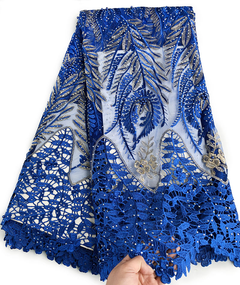 Royal blue Gold big french lace African tulle fabric with guipure cord lace fabric edges lots of stones high quality 5 yardsRoyal blue Gold big french lace African tulle fabric with guipure cord lace fabric edges lots of stones high quality 5 yards