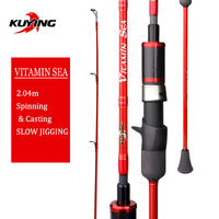 KUYING VITAMIN SEA 1 Section 2.04m 6'8 Carbon Spinning Casting Lure Slow Jigging Fishing Rod Stick Cane FUJI Helical Rings