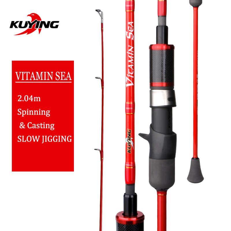 """Kuying Vitamin Biển 1 Mục 2.04 M 6'8 """"Carbon Quay Đúc Dụ Chậm Jigging Câu Dính Mía Phú Sĩ xoắn Ốc Nhẫn"""