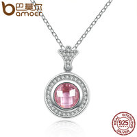 BAMOER Genuine 925 Sterling Silver Necklaces Pendants With Pink Clear CZ Functional Accessories For Women Vintage