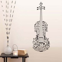 Home Decor Musical Notes Guitar Wall Stickers Removable Vinyl Wall Art Decal Living Room Musical Instruments Shop Mural Sticker