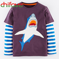 2016 Nueva Primavera Otoño Niños de La Camiseta Ropa de Manga Larga O-neck Pullover Informal Camiseta de la Impresión Patrón Animal 1-6 Niños ropa