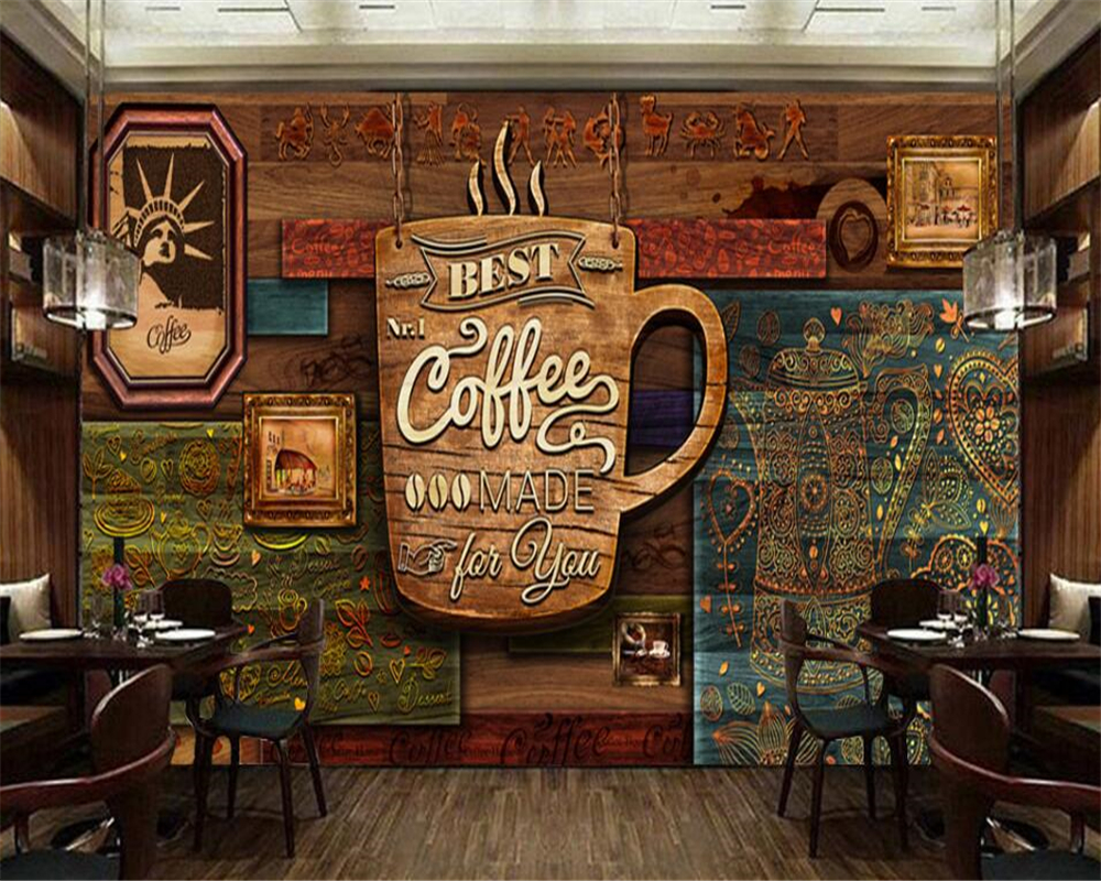 Beibehang Ultra High Definition Hand Painted Senior Retro Cafe Background Wall Decoration Painting Wallpaper For Walls 3 D In Wallpapers From Home