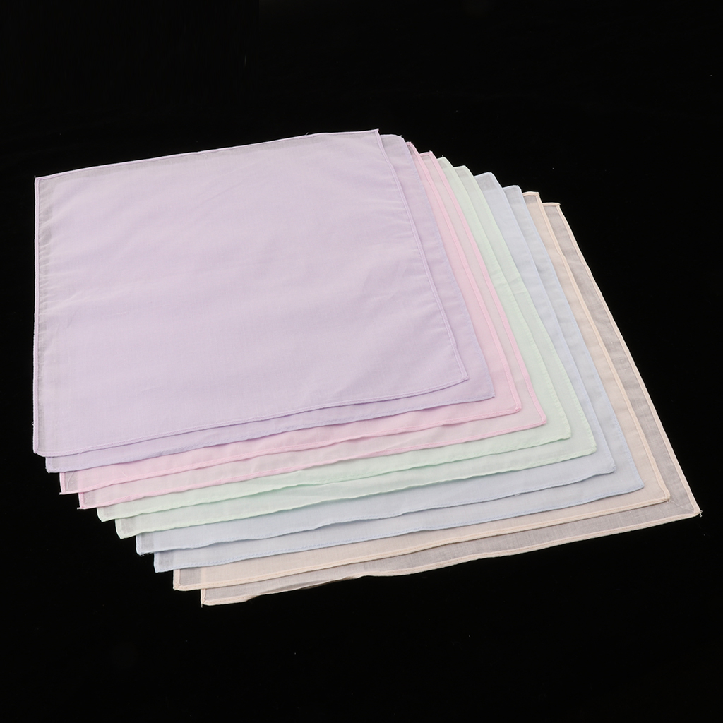 10pcs Pure Cotton Colorful Handkerchiefs Women Men Hanky DIY Pocket Square Hankies Kerchiefs For Wedding Eating Food Exercise