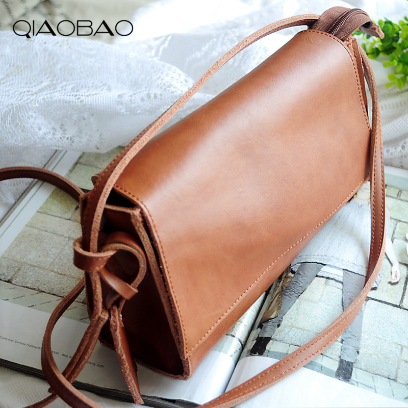 купить QIAOBAO 100% Natural Genuine Leather bag women's cowhide handbag female vivi small messenger bag