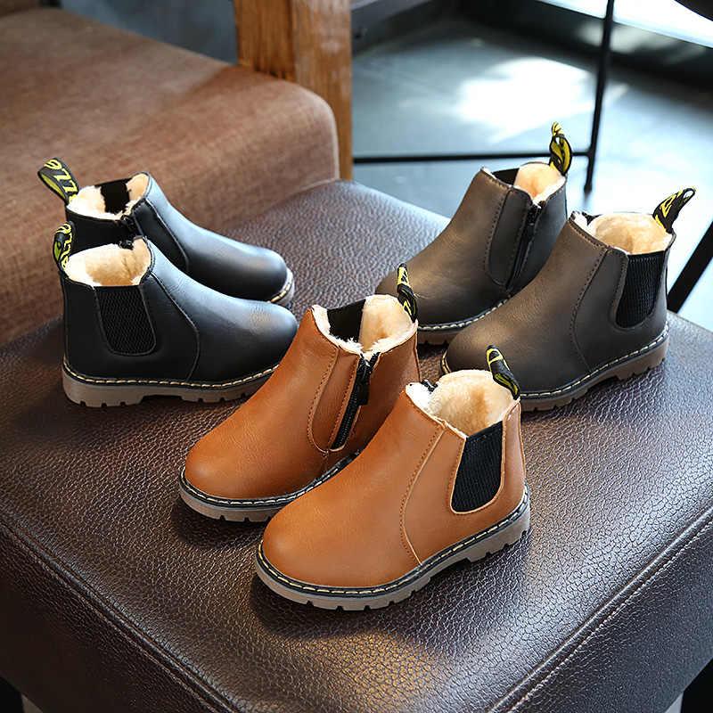 Лидер продаж; Ботинки martin для мальчиков; классическая зимняя теплая модная обувь из толстого плюша для девочек; повседневные флисовые детские ботинки для девочек