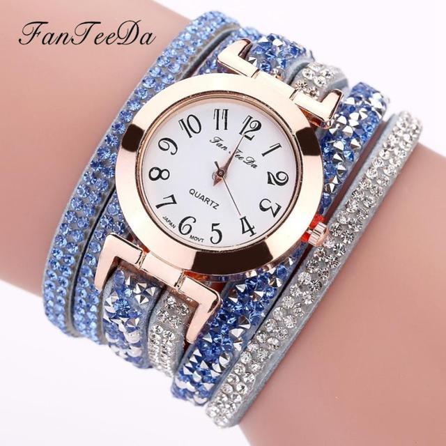 6004d8abf0705 Womens Bracelet Vintage Weave Wrap Quartz PU Leather Leaf Beads Wrist Watches  lady watch Relogio Feminino