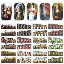12 sheets water decal nail art nail sticker Decorations slider tattoo full Cover beauty World MONA LISA prints style decals A840