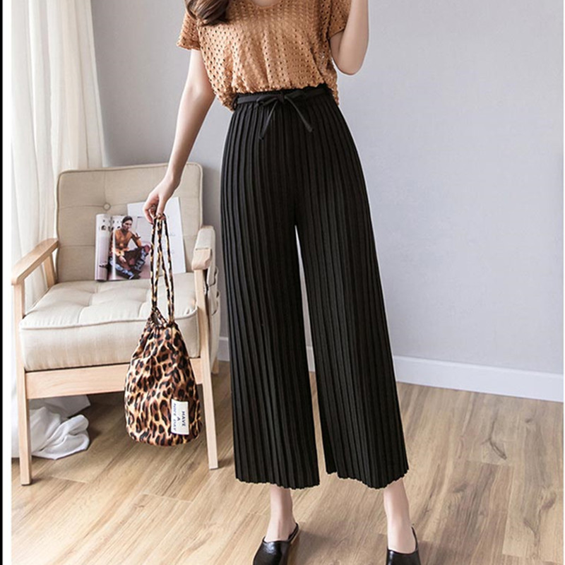 Real shot 2019 spring new Korean version of the women's pants with pleated wide-leg pants loose nine casual pants 2