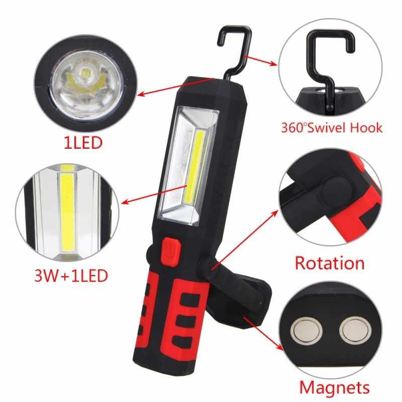 3 цвета COB светодиодный магнитный рабочий свет Автомобильный гаражный механический домашний перезаряжаемый фонарь лампа красный/синий/желтый подвесной портативный светильник