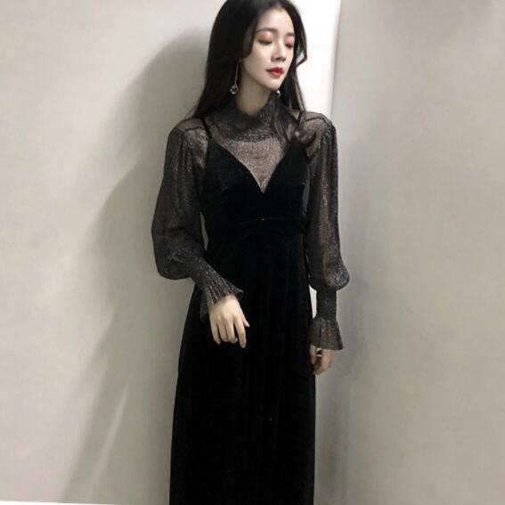 100% satisfaction elegant shape cheapest sale US $21.99 49% OFF|Graceful Sweater Dress Black V Collar Long Sleeve Sashes  Jumper Outfit Dress Women Sweet Dress DV322-in Dresses from Women's ...