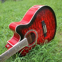 40 17 guitars 40 inch red flame maple Acoustic Guitar Rosewood Fingerboard guitarra with guitar strings