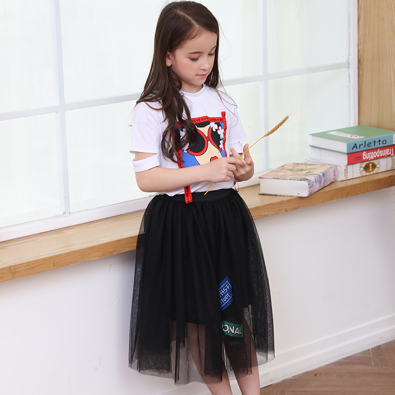 Girls Clothes Summer Style Tops Shorts 2pcs Kids Set Carton Print Black Mesh Skirts Little Girls Outfit 6 8 9 10 12 14 15 years 2pcs baby kids girls rabbit bunny green cotton t shirt tops dots denim bib overalls skirts outfit clothes 1 5y