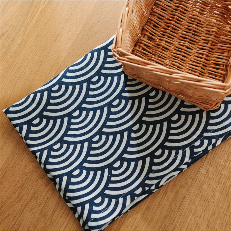 Japan Style Cotton Placemat Blue Fish Scale Sea Wave Artistic Dining Table  Mats Japanese Restaurant Table Pad Table Decoration In Mats U0026 Pads From  Home ...